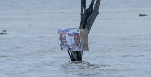 Akufo Addo's Poster Mounted In The Middle Of A River In Volta Region Causes Stir On The Internet 1