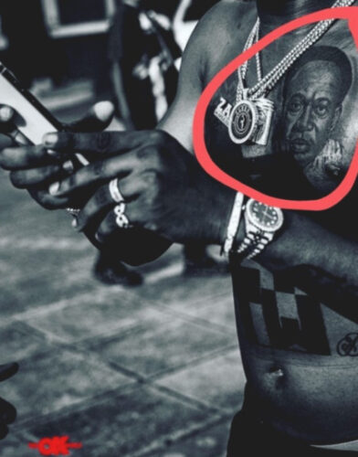 Nigerian musician Zlatan Ibile tattoo Kwame Nkrumah's face on his chest 2