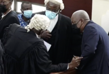 Mahama and lawyers in court