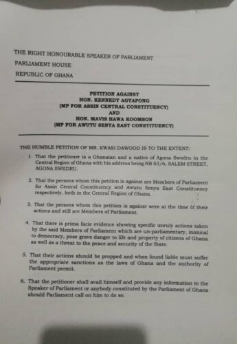 More Troubles For Kennedy Agyapong, Hawa Koomson As Fresh Petition Hits Parliament (FULL DOCUMENT) 1